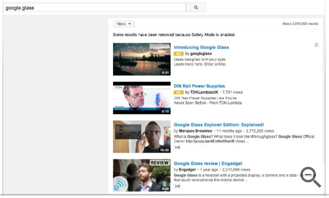 YouTubeの検索結果ページ